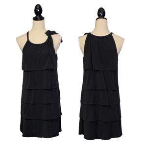 Michael Kors Black Layered Dress Sz M Jersey Knit